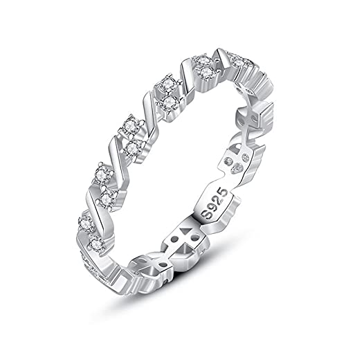 KnBoB Anillos Mujer Plata de Ley Anillo Geometría Circonita Engastada Diamantes Adecuado para Propuesta de Matrimonio Talla 9,5