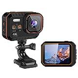 DZSWDTQ Wi-Fi Sports Waterproof Camera,4K HD Video 16MP Camera,170 Degree Wide Angle LCD Screen - Cool Black