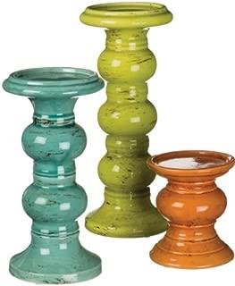 Sullivans Candleholder, Set of 3, Green, Blue and Orange