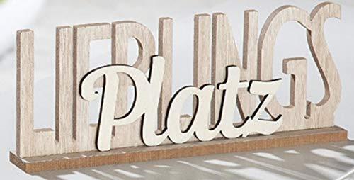 G.H. Vintage Holzschriftzug als Aufsteller, Modell: LIEBLINGSPLATZ, Material Holz, Maße 30 x 12 cm, Farbe Natur und cremeweiss, ideal für Garten, Terrasse, Cafe, oder einfach Zuhause.