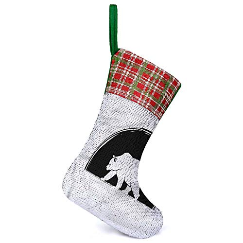 Adorise Personalizar Medias grandes Oso Polar Caminando Calcetín de Navidad colgante para decoraciones de vacaciones familiares