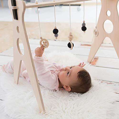 Gimnasio para bebés de madera Chin Pum (negro)   Estimulación temprana del bebe en un lugar seguro   Sostenible y durable