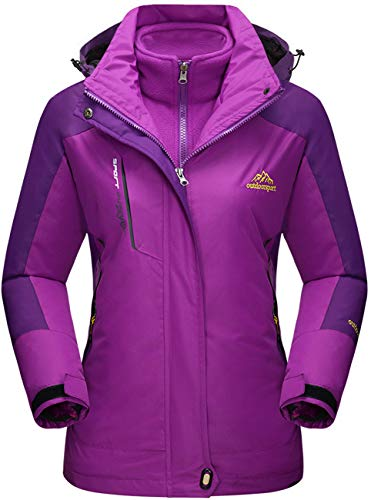 TACVASEN Damen 3-in-1 Jacke Wasserdicht Fleece Gefüttert Kapuzenmantel für Winter Outdoor Ski Sports, Violett, XL
