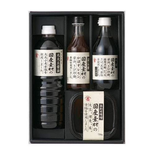 富士甚醤油 フジジン 国産素材ギフトセット (しょうゆ、味噌、つゆ、ポン酢)