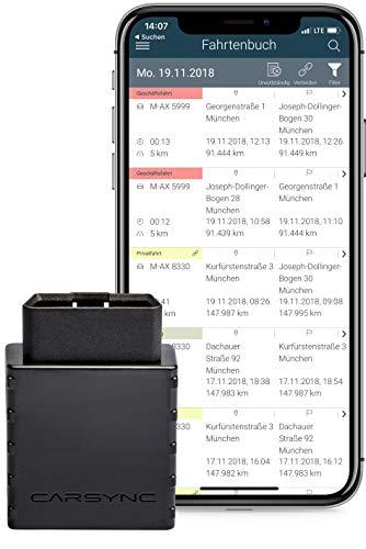 CARSYNC Elektronisches Digitales Fahrtenbuch | OBD2-Stecker inkl. 12 Monate-Lizenz | automatische Aufzeichnung | GPS, EU-SIM Karte, auch für Elektro- und Hybrid | mit Android und iOS kompatibel