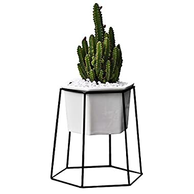 Flower Pots Indoor,Yousun 6.69 inch Modern Design White Ceramic Succulent Planter Pot with Metal Stand for Succulent Plants/Mini Cactus/Air Plant (White-Black)