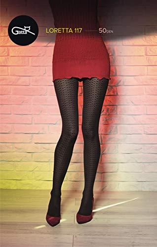 Gatta panty 50den (861-117) - ondoorzichtige panty zwart met strepen fantasiepatroon - ontworpen & Made in EU