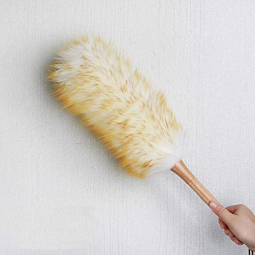 Wool Lambswool Feather Brush, Anti-static Duster Dust Sweeping Cleaning Tool with Wood Handle and Hanging Rope for Home Furniture