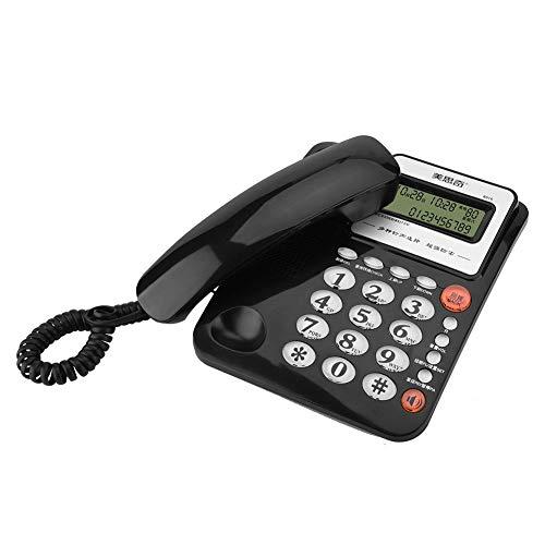 FSK DTMF Teléfono Fijo con Cable de Escritorio para Casa Oficinas y Hoteles, Teléfono Doméstico Multifuncional con Grande Pantalla de Visualización, Battery-Free Teléfono para Los Mayores(Negro)