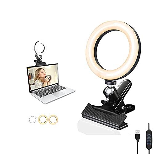 Kit de iluminación para videoconferencias, portátil, zoom 6 pulgadas con clip, luz anillo 3 modos luz, reuniones zoom, trabajo a distancia, maquillaje, fotografía, vlogging (regulable)