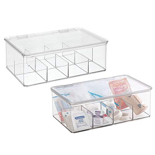 mDesign Plastic First Aid Kit Storage Box for Bathroom Kitchen Cabinet Closet  Organizes Medicine Ointments Adhesive Bandages Dental Diabetic Supplies  8 Divided Sections 2 Pack  Clear