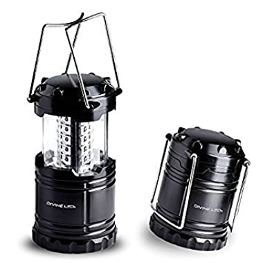 Vont 4 Pack LED Camping Lantern, Survival Kit for Hurricane, Emergency, Storm, Outages, Outdoor Portable Lantern, Black, Collapsible (Batteries Included)