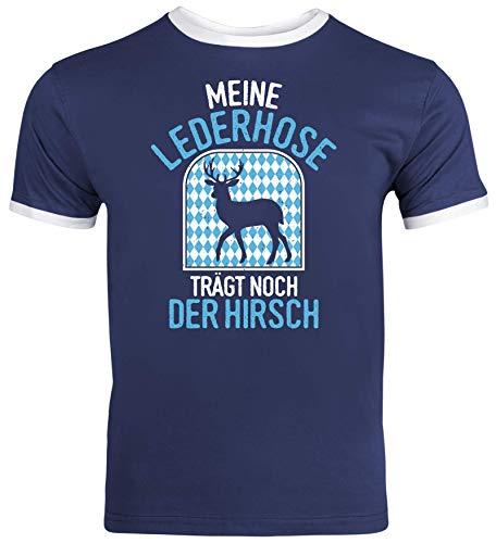 ShirtStreet Gaudi Wiesn Herren Männer Ringer Trikot T-Shirt Oktoberfest - Meine Lederhose trägt noch der Hirsch, Größe: XL,Navy/White