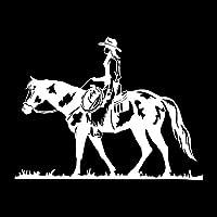 カーステッカー 13.5 * 13.9 CM野生のロデオ騎乗位馬術の味の味のビニールデカール黒/銀 カーステッカー (Color Name : Silver)