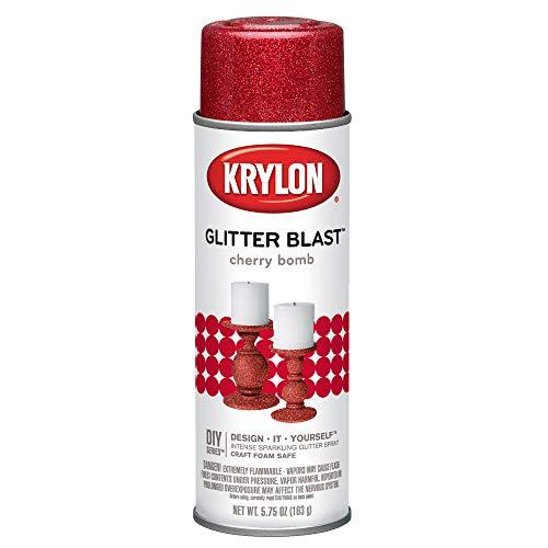 Krylon K03806A00 Glitter Blast Glitter Spray Paint for Craft Projects, Cherry Bomb Red, 5.75 oz