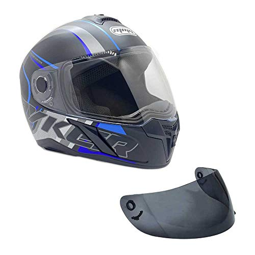 MMG Motorcycle Full Face Helmet DOT Street Legal Extra Visors Comes with Clear Shield and Smoked Shield - Ryker Blue, Large