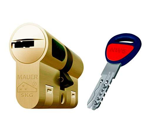 MAUER NW5 Bombin de Seguridad 31x31 DOBLE EMBRAGUE Color Laton Cilindro Bombillo Reforzado Antirotura Antibumping Antitaladro Leva Antiextracción Cerradura para Puerta 5 LLaves Tarjeta de Seguridad