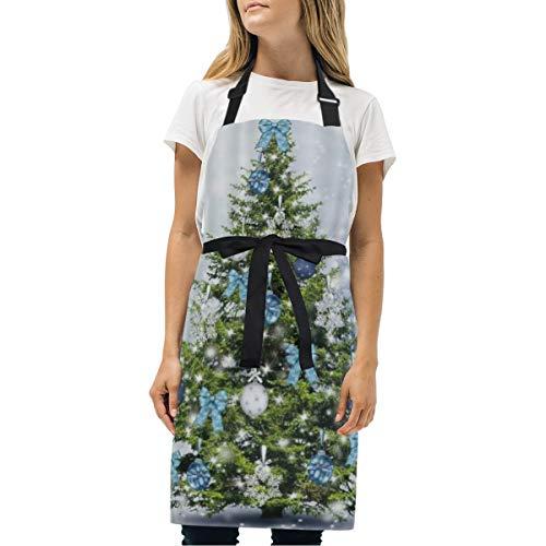 VICAFUCI Delantal,Feliz año Nuevo Copos de Nieve Navidad Invierno árboles con Bolas de Plata Azul Arcos Feliz Cristo,Babero de Cocina Unisex con Cuello Ajustable para cocinar jardinería,tamaño Adulto