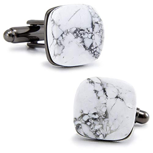 AMINIY Cufflinks Carbon Jade Cufflinks Chinese Style French Men-Square Style With Ziplock Bag (Color : Square style with Ziplock bag)