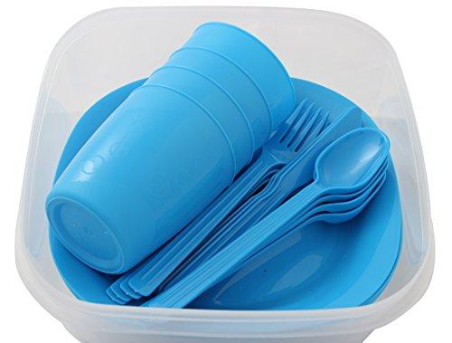 Menz Outdoor - Camping-/Picknick-Set, 1 Set in blau | Geschirrset für 4 Personen 21-teilig aus Kunststoff mit Teller, Becher und Besteck - Made in Europe (Blau - 1 Stück)