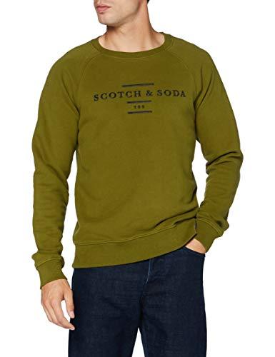 Scotch & Soda Mens Crew Neck Sweat Sweatshirt, Military Green 0154, S