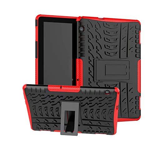 XITODA Funda Huawei MediaPad T5 10, Hybrid Rugged Armor Duro PC + TPU Silicone Back Case Cover Carcasa para Huawei MediaPad T5 10 2018 Tablet Funda con Kickstand - Rojo