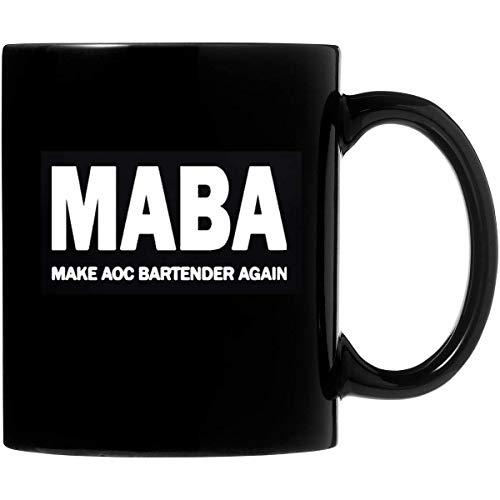 N\A Maba Make Aoc Bartender Again - Taza de café de cerámica de 11 oz, Regalos Personalizados para Padres, Amantes de la Oficina, Regalos de San Valentín, sensibles al Calor en Ambos Lados