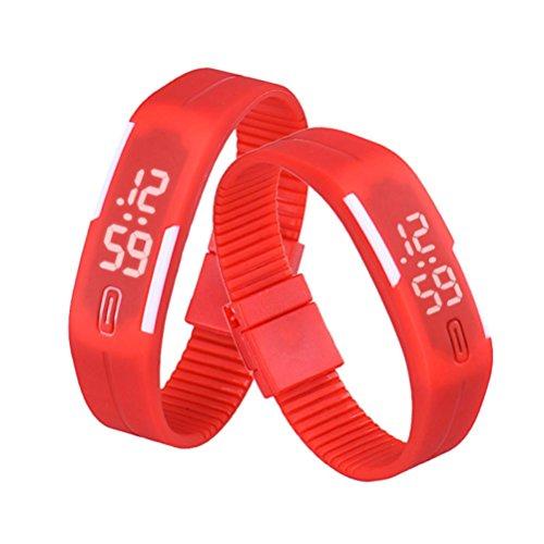 QinMM Reloj Digital Pulsera Deportiva de Silicona, con Pantalla LED, para Correr, para Mujer y Hombre, Unisex (Rojo)