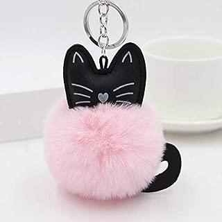 Best Quality - Key Chains - Black Cat Key Chain Car Keychain Rabbit Fur Ball Animal Keyrings Pom Pom Plush Pendant Bag Charms Key Holder Trinket Porte Clef - by Pasona - 1 PCs
