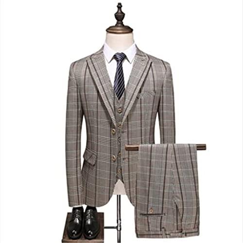 LEPSJGC メンズチェック柄スリムフィットバンケットスーツセット3pcsブレザーベストパンツ/男性ビジネスドレスジャケットパンツ (Color : A, Size : XXXL code)