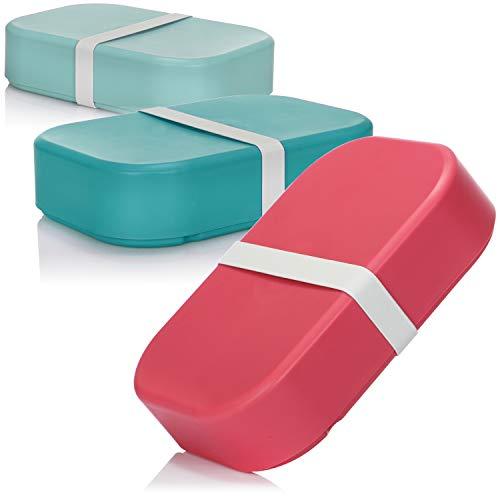 COM-FOUR® 3x fiambrera en colores brillantes - fiambrera para llevar - 19 x 13 x 4.5 cm [la selección de colores varía] (04 piezas - mezclar colorido)