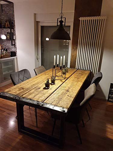 Esstisch Tisch Bohlen Gerüstbohlen Massiv Holz Stahl Shabby Industrial