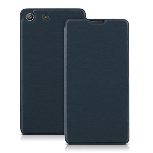 kwmobile Funda Compatible con Sony Xperia M5 - Carcasa con Tapa Tipo Libro - Case Protector en Azul Oscuro