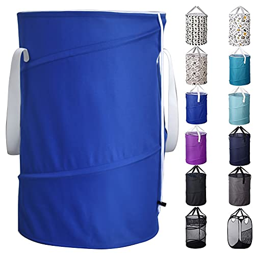 Bagail 85L Pop Up Laundry Hamper Bucket Cylindric, Foldable Clothes Bag, Folding Washing Bin,Large Capacity Collapsible Drawstring Closure Polyester Laundry Storage Basket with Handles(Blue)