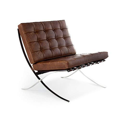 moDecor Barcelona - Sedia e sgabello imbottiti Vintage Brown Leather Chair Only
