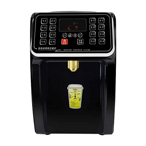 TreeSouth 8.5L Dispensador De Fructosa Automático Máquina 16 Teclas De Memoria Revestimiento De Acero Inoxidable 304 Salida De Azúcar con Bloqueo Automático Alarma De Escasez De Azúcar 29x25,5x41cm