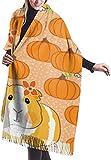 Tengyuntong Damen Wickeldecke Schal, Meerschweinchen Kürbisse Halloween Damen Schal Große weiche seidige Pashmina Kaschmir Schal Wrap