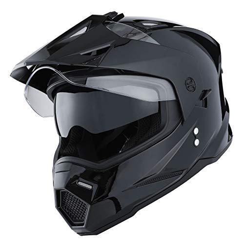 1Storm Dual Sport Motorcycle Motocross Off Road Full Face Helmet Dual Visor Glossy Black, Size L