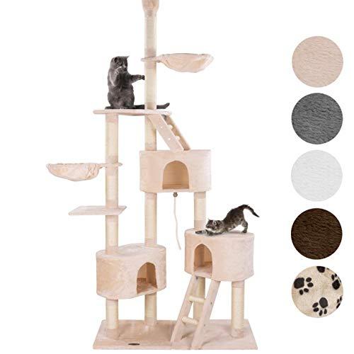 happypet® Kratzbaum für Katzen deckenhoch CAT027-4 verstellbar 230-260 cm hoch, großer Kletterbaum Katzenbaum, Sisalstämme ca. 8 cm, Haus, Liegemulde, Treppe, Spielseil, Deckenspanner, BEIGE