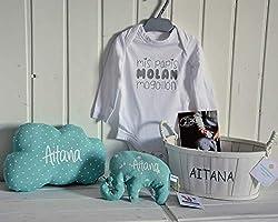 Canastilla bebé personalizada. Regalo original para un recién nacido, personalizado y hecho a mano. Incluye saco térmico...