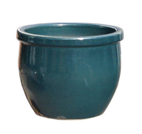 Hentschke Keramik Pflanztopf/Pflanzkübel frostsicher Ø 40 x 34 cm, Effekt grün, 076.040.66 Blumenkübel für Draußen + Innen - Made in Germany