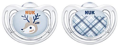 NUK Snow Freestyle - Ciuccio ortodontico in silicone, da 0 a 6 mesi, con scatola portaciuccio, motivo cerbiatto