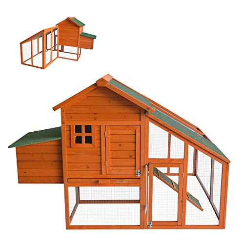 Kinbor Chicken Coop Wooden Hen House Outdoor Backyard Garden Large Rabbit Poultry Cage with Removable Tray and Large Run Area
