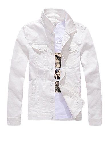 DSDZ Men`s Classic Slim Fit Motorcycle Denim Jacket Coat White S(Asian L)