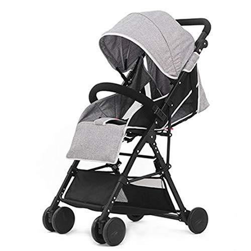Mele High Landscape Baby Passeggino Pieghevole, Leggero Carrello di Bambola Multi-Posizione Sedile reclinabile, Grande Cesto di stoccaggio, Ruote di Sospensione,Gray
