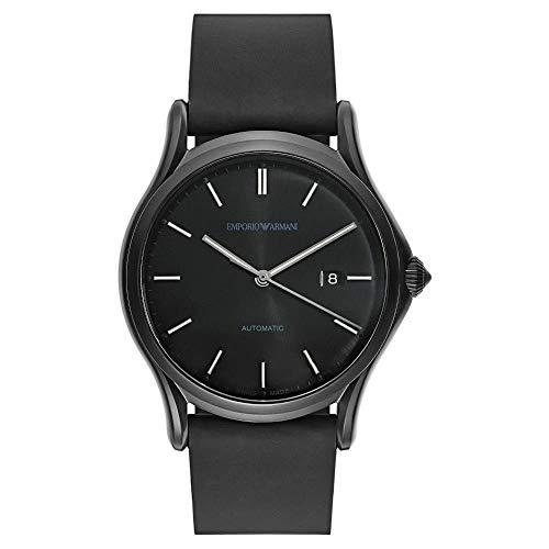 Emporio Armani Swiss Made Reloj de vestir para hombre de cuarzo suizo de acero inoxidable y cuero negro (Modelo: ARS3015)