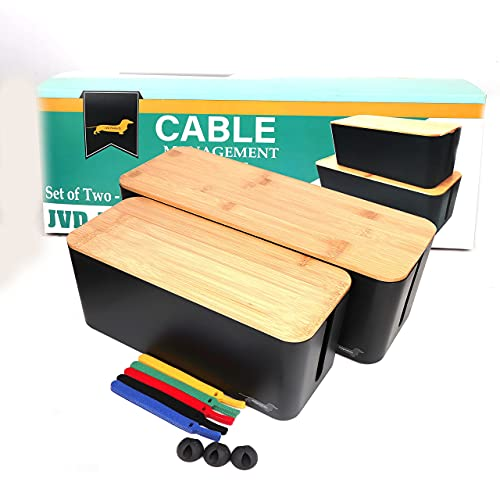 JVD Products Cable Management Box Set Extra Large Cord Concealer Organizer Box Hide Wires and Power Strip Surge Protectors Cord Box for Home, Office, School, Two Sizes, Includes Cable Ties, Cord Clips