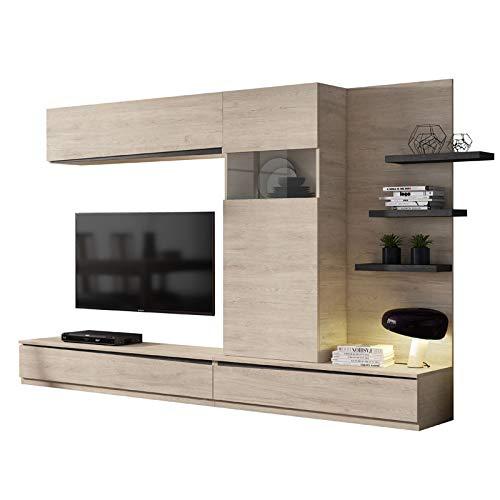Tousmesmeubles Composition TV Bois Clair/Bois Noir - Camelia n°1 - L 292 x l 45 x H 180 - Neuf