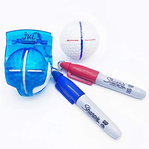 JKL Golf Ball line Marker Alignment Tool-Golf Accessories for Golf Ball Marker Line Liner Drawing Stencil Kit and Golf Ball Marker Pen,Golf Training Straight Shot Putt Tool Gift Set for Kid,Men,Women