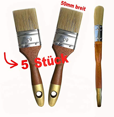 5 Stück Profi Flach Pinsel Chinaborsten Naturhaar/Borsten 50mm breit